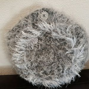 Hand knit one of a kind felted grey furry evening